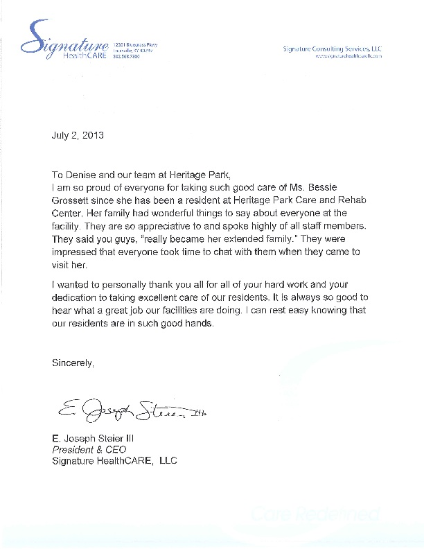Letter from CEO Joe Steier Heritage Park Care and Rehabilitation